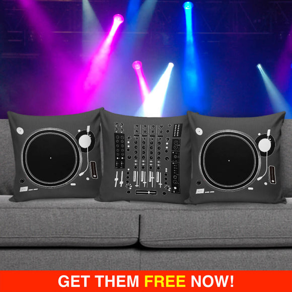 DJ Deejay Disc Jockey Mixer & Turntable Pillow / Cushion Covers (FLASH OFFER) - Trendy Staples