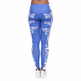 Blue Totem Pole Printed Leggings - Trendy Staples