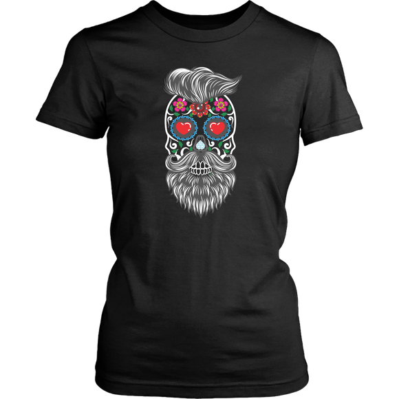 Calavera Hipster Sugar Skull Women's Tee Shirt - Trendy Staples