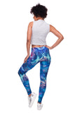 Blue Tropical Leaves Printed Leggings - Trendy Staples
