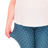 Stag Blue With Pink Polka Dots Printed Leggings - Trendy Staples