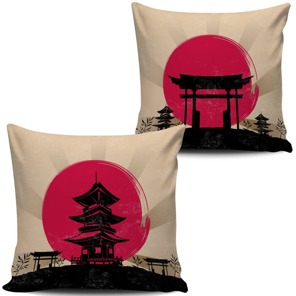 Japanese Toba Pagoda Shrine & Torii Gateway Pillow Covers - Trendy Staples