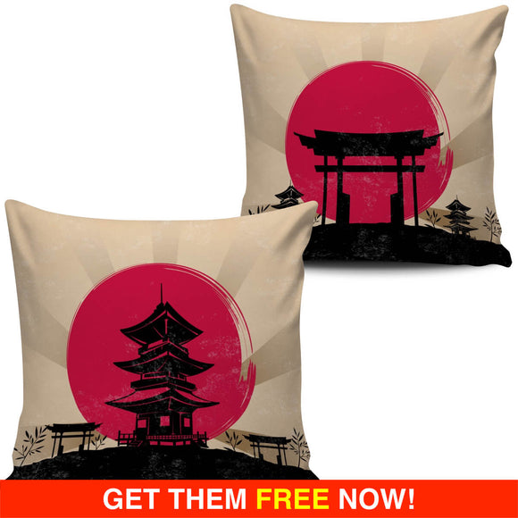 Japanese Toba Pagoda Shrine & Torii Gateway Pillow Covers (FLASH OFFER) - Trendy Staples