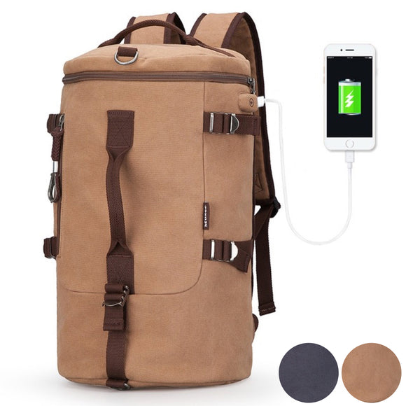 Muzee Ryoko Series Travel Cylinder Dual Canvas Backpack / Duffel Bag - Trendy Staples