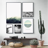 Nordic Landscape Painting Canvas Art Print - Trendy Staples