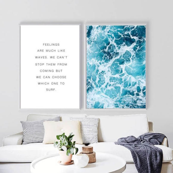 Nordic Ocean Waves + Quote Canvas Art Print - Trendy Staples