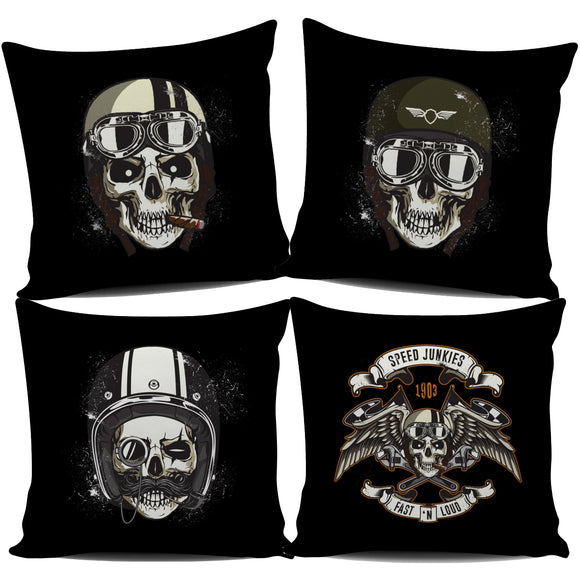 Biker Speed Junkie Skull Pillow Cover Series - Trendy Staples