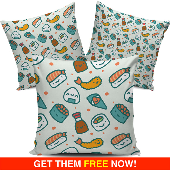 Japanese Cartoon Sushi Series 1 Pillow Cover (FLASH OFFER) - Trendy Staples