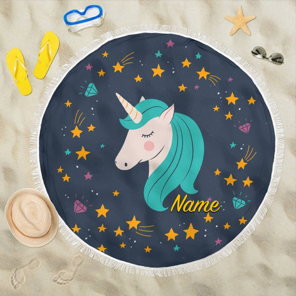 Midnight Blue Starry Night Crescent Moon Unicorn Beach Blanket (Customisable) - Trendy Staples