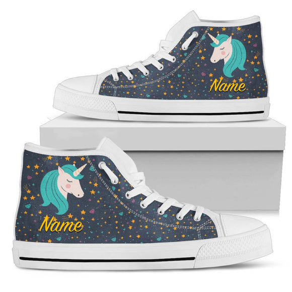 Midnight Blue Starry Night Crescent Moon Unicorn High Top Black White Canvas Shoe (Customisable) - Trendy Staples