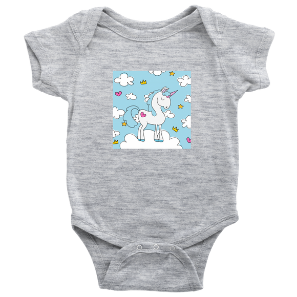 Blue Sky Unicorn Baby Bodysuit / Infant, Toddler & Youth Cotton T-Shirt - Trendy Staples