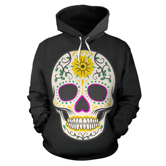 Craneo Calavera Sugar Skull Yellow Bloom Hoodie / Full Zipp - Trendy Staples