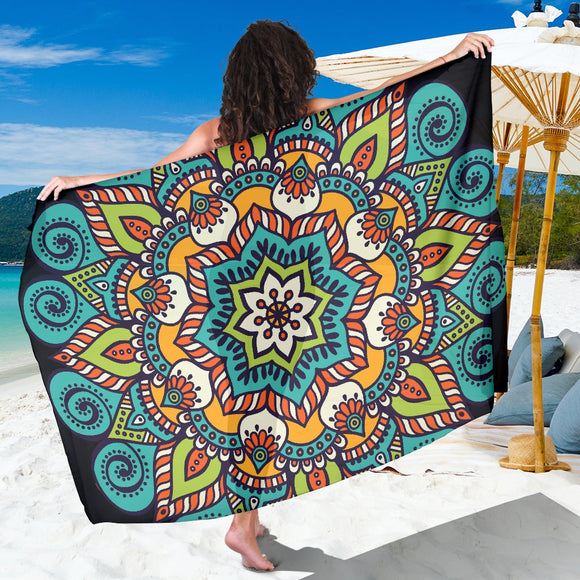 Mandala Turquoise Orange Sarong - Trendy Staples