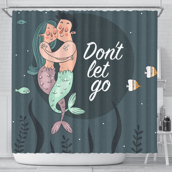 Mermaid Couple Shower Curtain With Quotations - Trendy Staples