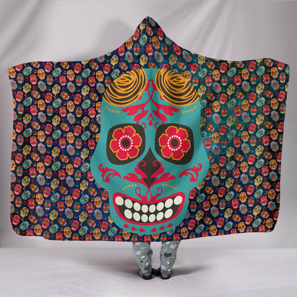 Mex Calavera Sugar Skull Hooded Blanket Series (4 Variants) - Trendy Staples
