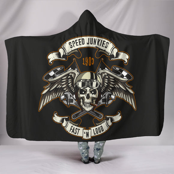 Biker Speed Junkies Wings Hooded Blanket - Trendy Staples