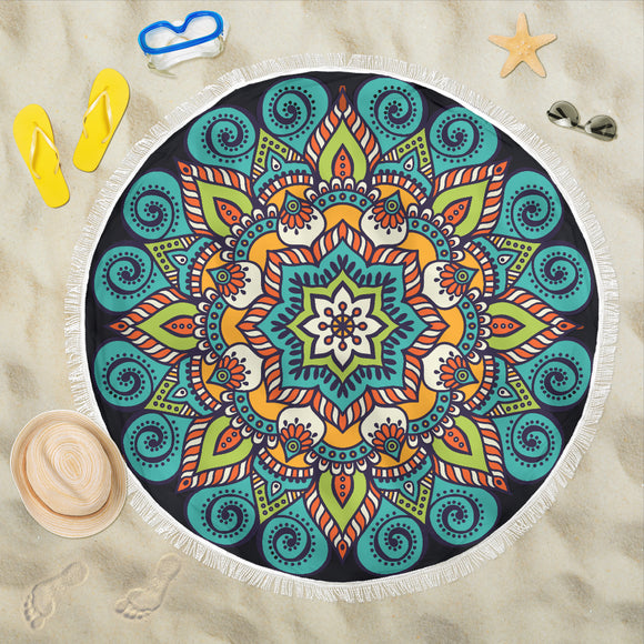 Mandala Turquoise Orange Beach Blanket - Trendy Staples