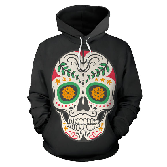 Craneo Calavera Sugar Skull Orange Bloom Hoodie / Full Zip - Trendy Staples