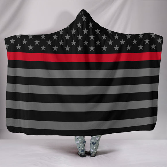 Thin Red Line Firefighter Hooded Blanket - Trendy Staples