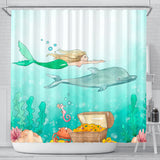 Mermaid Dolphin Water Color Shower Curtain - Trendy Staples