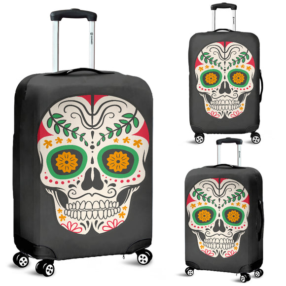 Craneo Calavera Skull Orange Bloom Luggage Cover - Trendy Staples