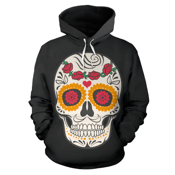Craneo Calavera Skull Red Bloom Hoodie - Trendy Staples