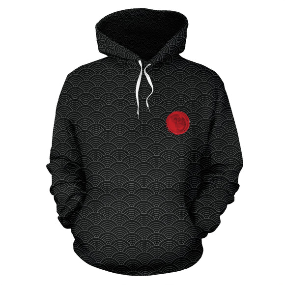 Japanese Black Oceanic Pattern Hoodie Jacket Series - Tiny Red - Trendy Staples