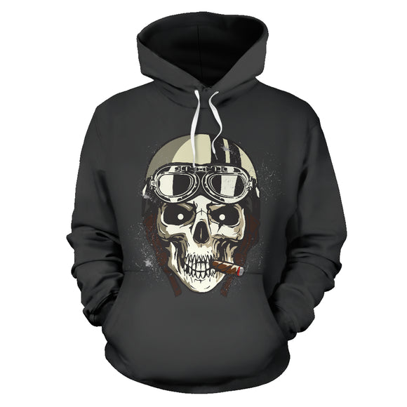 Biker Speed Junkie Fast N Loud Skull Hoodie Jacket Dark Grey - Trendy Staples