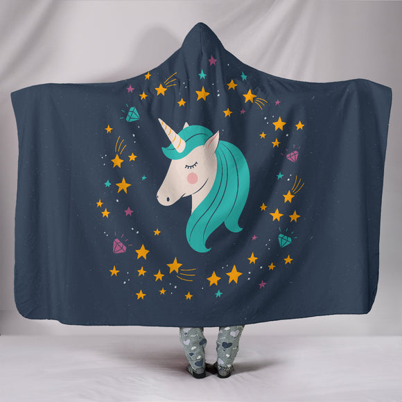 Midnight Blue Starry Night Unicorn Hooded Blanket - Trendy Staples
