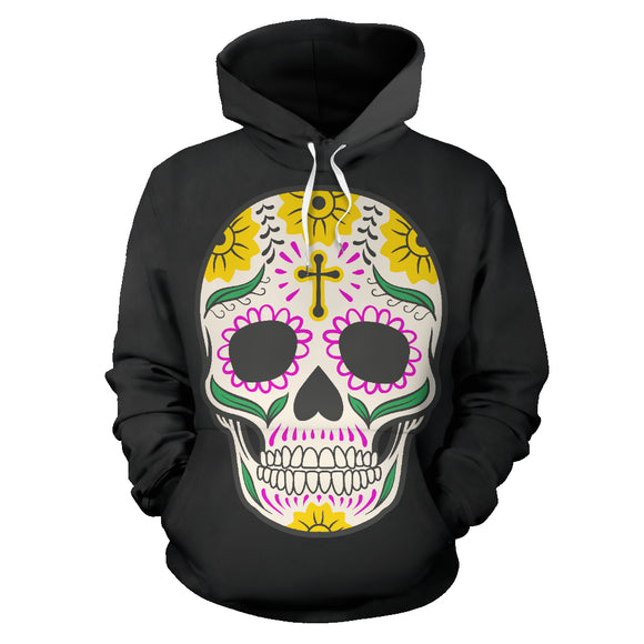 Craneo Calavera Sugar Skull Yellow Cross Hoodie / Full Zip - Trendy Staples