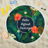 Tropical Aloha Series Beach Blanket With Various Quotes (Customisable) - Trendy Staples