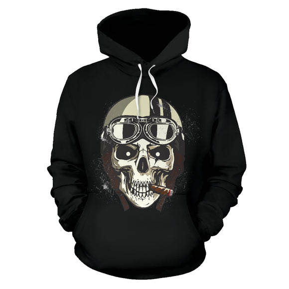 Biker Speed Junkie Fast N Loud Skull Hoodie Jacket Black - Trendy Staples