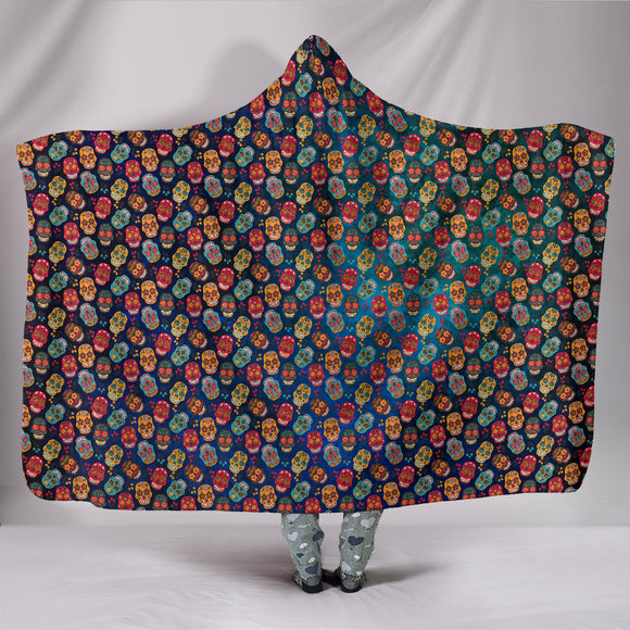 Mex Calavera Sugar Skull Hooded Blanket Series (Skulls) - Trendy Staples