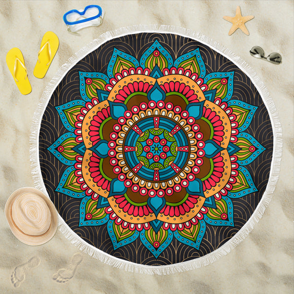 Mandala Teal Red Beach Blanket - Trendy Staples