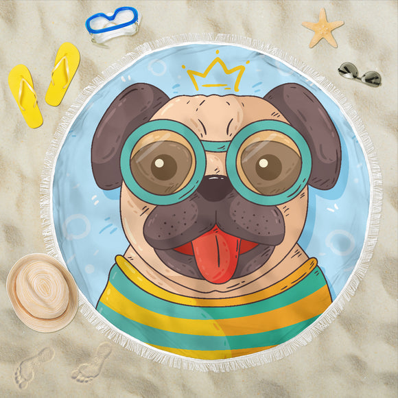Hand Drawn Pug at the Beach Beach Blanket - Trendy Staples