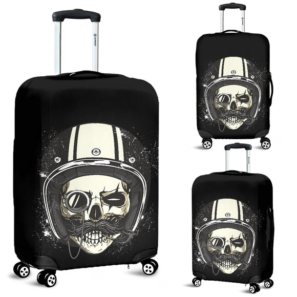 Biker Speed Junkie Fast N Loud Skull Handlebar Moustache Luggage Cover - Trendy Staples