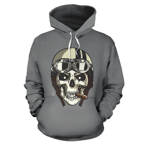 Biker Speed Junkie Fast N Loud Skull Hoodie Jacket Grey - Trendy Staples