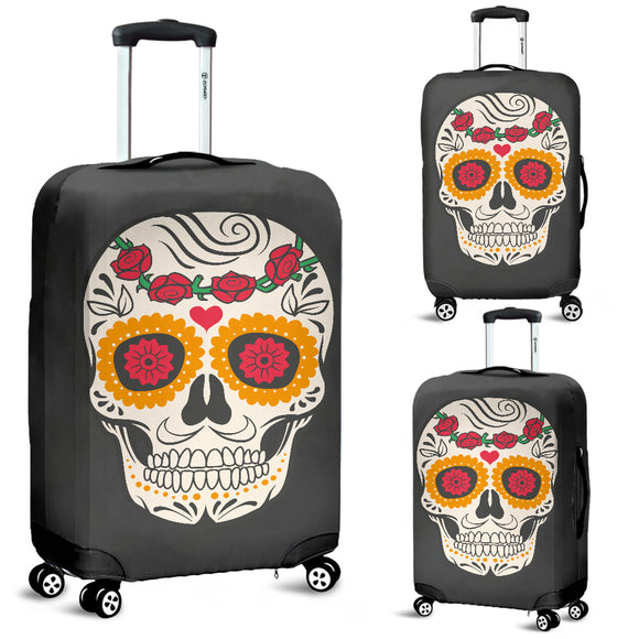Craneo Calavera Skull Red Bloom Luggage Cover - Trendy Staples
