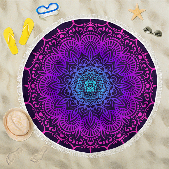 Mandala Blue Indigo Beach Blanket - Trendy Staples