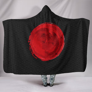 Japanese Black Oceanic Pattern Hooded Blanket (2 Variants) - Trendy Staples