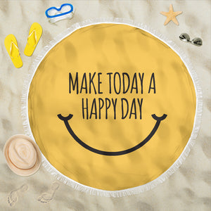 Motivational Quote Beach Blanket - Make Today A Happy Day - Trendy Staples