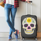 Craneo Calavera Skull Yellow Bloom Luggage Cover - Trendy Staples