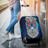 Calavera Hipster Eyes Of Hearts Luggage Cover - Trendy Staples