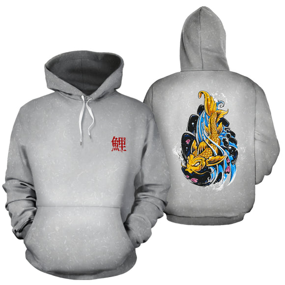 Japanese Koi Fish Tattoo Upstream Downstream Grey Hoodie - Trendy Staples