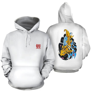 Japanese Koi Fish Tattoo Upstream Downstream Off White Hoodie - Trendy Staples