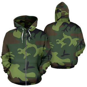 Men's Zip Up Hoodie - Camo - Trendy Staples