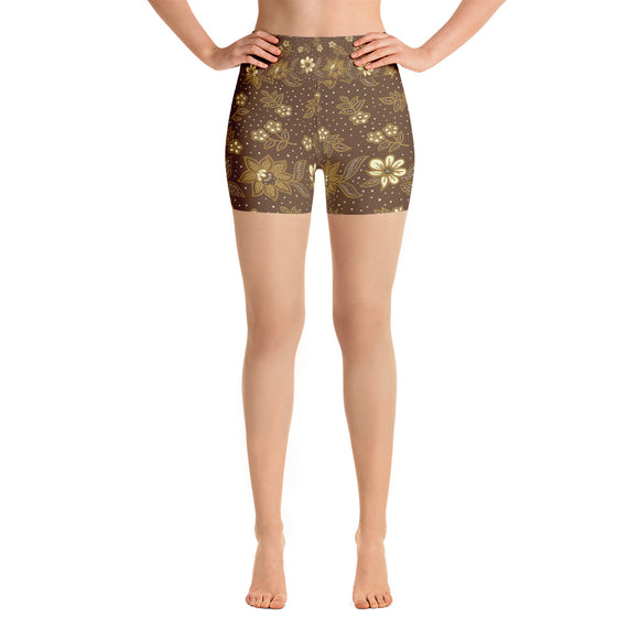 Kayon Series Brown Floral Balinese Batik Yoga Shorts - Trendy Staples
