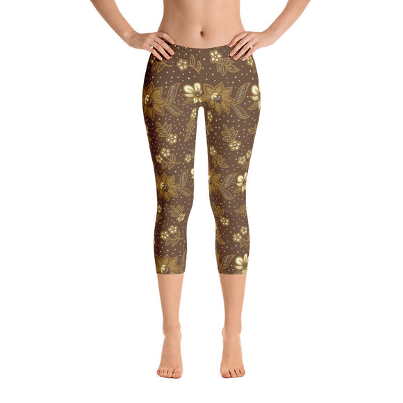 Kayon Series Brown Floral Balinese Batik Capri Leggings - Trendy Staples