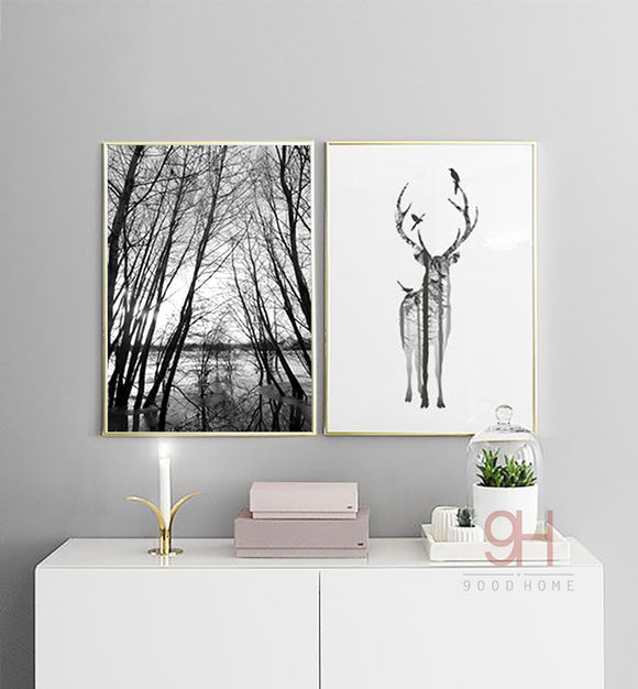 Nordic Forest Deer Silhouette Canvas Art Print - Trendy Staples