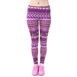 Purple Aztec Printed Leggings - Trendy Staples